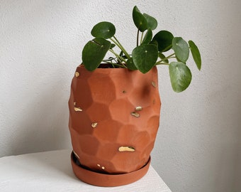 Terracotta + Gold Ceramic Faceted Planter - The Object Enthusiast - Unique Indoor Planteer