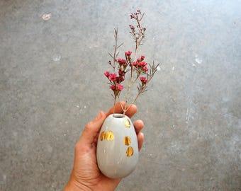 Gray and gold ceramic bud vase. Porcelain vase. The Object Enthusiast. Gold ceramic vase. Polka dot vase. Valentine's Day gift.