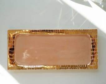 Peach and gold vanity tray. Pink and gold ceramics. The Object Enthusiast. Modern ceramic home decor. Valentine's day gift for her.