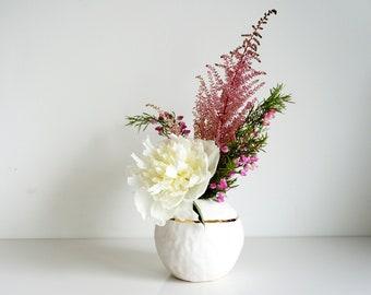 White and gold sphere vase. White porcelain vase. The Object Enthusiast. Ceramic vase. Gold ceramics. Modern ceramic home decor. Centerpiece