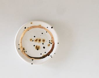 Gold speckled ring dish. The Object Enthusiast. Small jewelry storage dish. Ring dish. Gift for her. Valentine's day gift idea. Home decor.