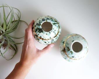 Turquoise and gold ceramic vase. Modern ceramic vase. The Object Enthusiast. Ceramic vase. Bud vase. Speckled turquoise and gold. Gold.