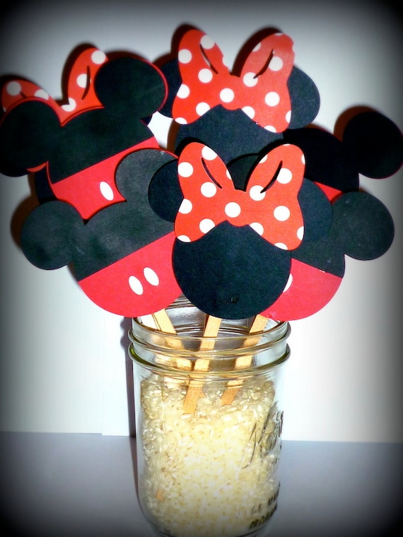 Items similar to MIckey and Minnie Mouse Cupcake Toppers ...