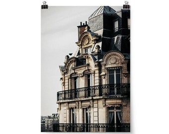 "Large Wall Art, Travel Decor, Paris Home Decor, Fine Art Photography, Wall Art, Travel Art Print, Neutral Home Decor, ""Paris Rooftop"""