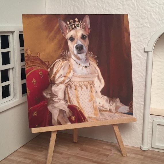 Miniature Dollhouse Shadow Box Art Crowned King Charles Cavalier Dog Handmade