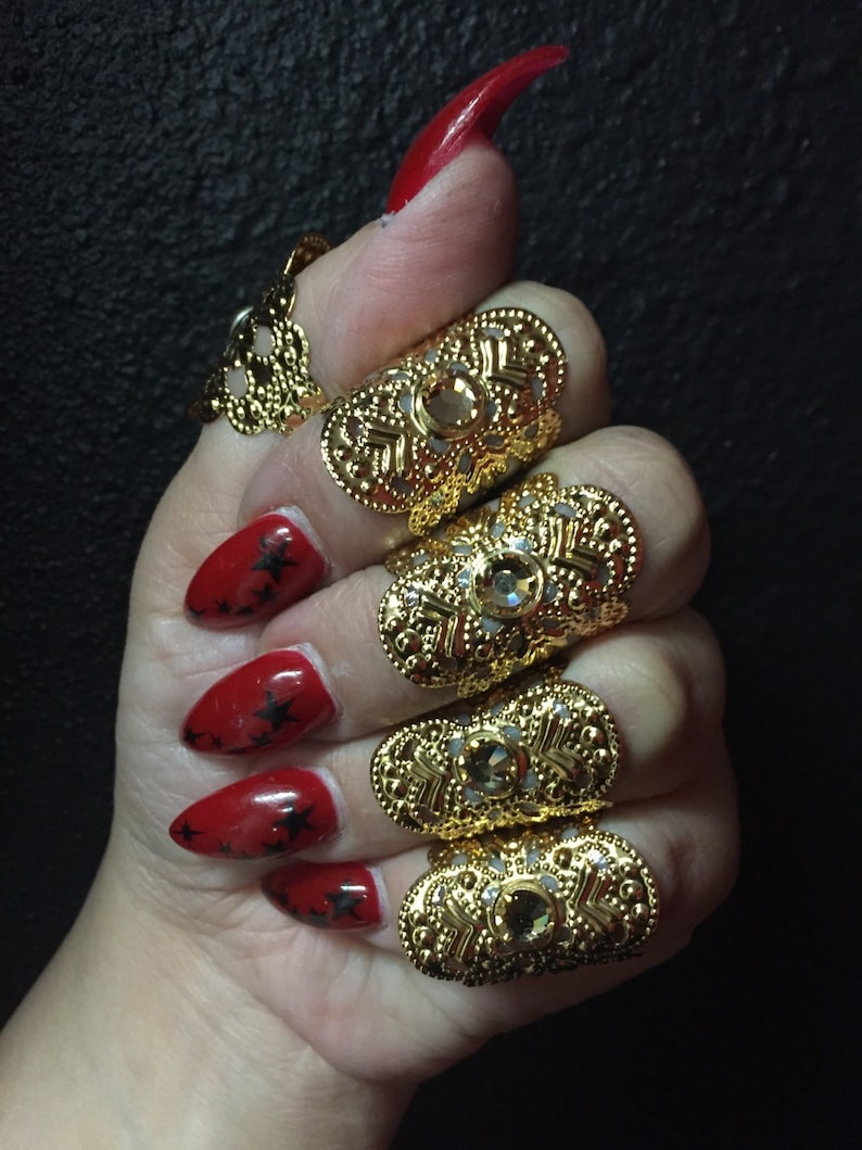 Gold cuff rings set of 5