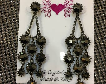 Water fall Crystal Chandelier  Earrings Made with Hematite(Dark Gray) Swarovski Crystal Black Plated