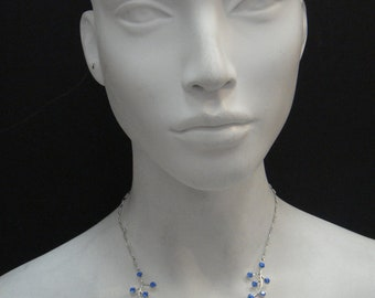 Branch and flower drop necklace made with Saphire blue swarovski  Crystal  and silver plated4346N