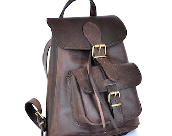 03ba8c524c34 Small leather Backpack   Women distressed brown leather backpack   Small  leather pouch