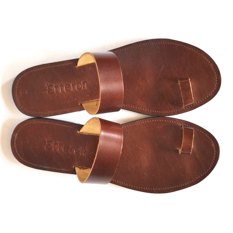 d7629b95e63be Leather Sandals / Toe ring women sandal / Greek Handmade sandals / Leather  out soles