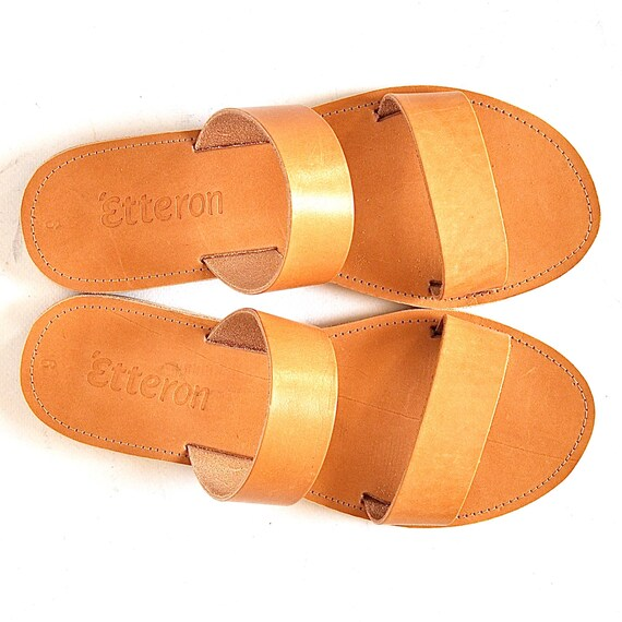 5b591dd1d60ab Leather Sandals / Two straps women sandals / Greek Handmade sandals /  Leather out soles