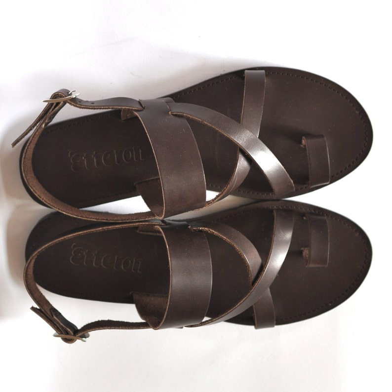 2f69cbd607d9e Leather Sandals / Cross straps toe ring women sandals / Greek Handmade  sandals / Leather out soles