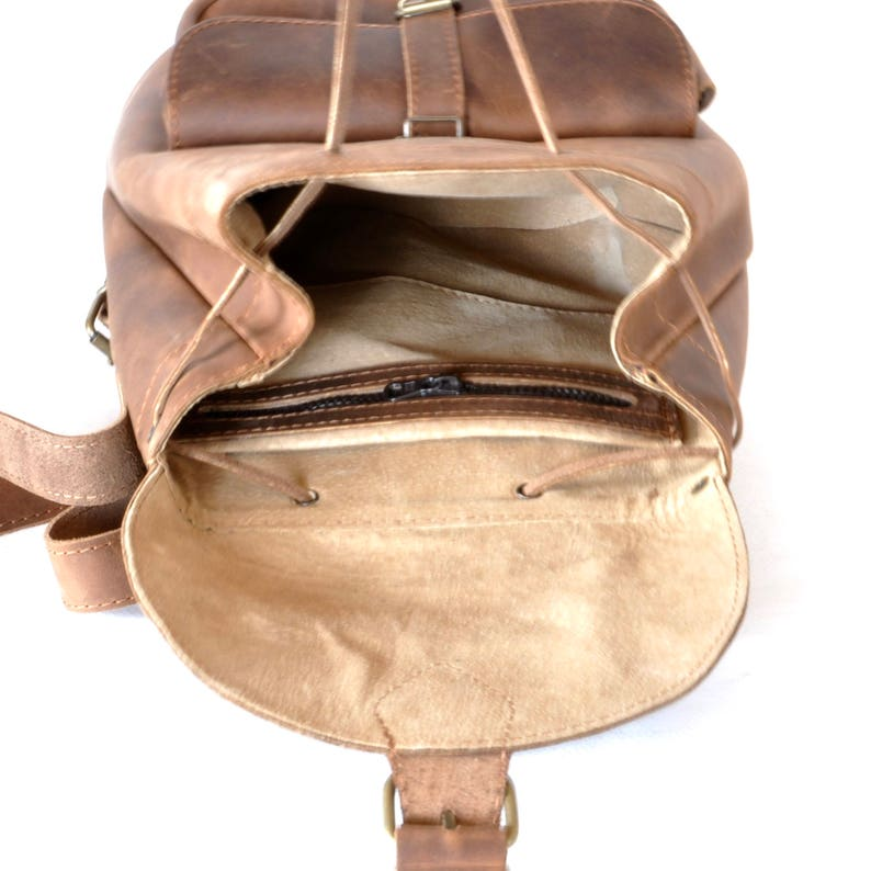 0b4dc3d0f082 Small leather backpack   Women chestnut brown leather backpack