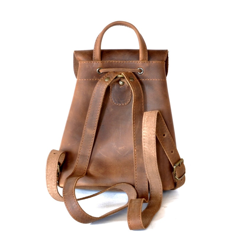 b942d9736c28 Small leather backpack   Women chestnut brown leather backpack