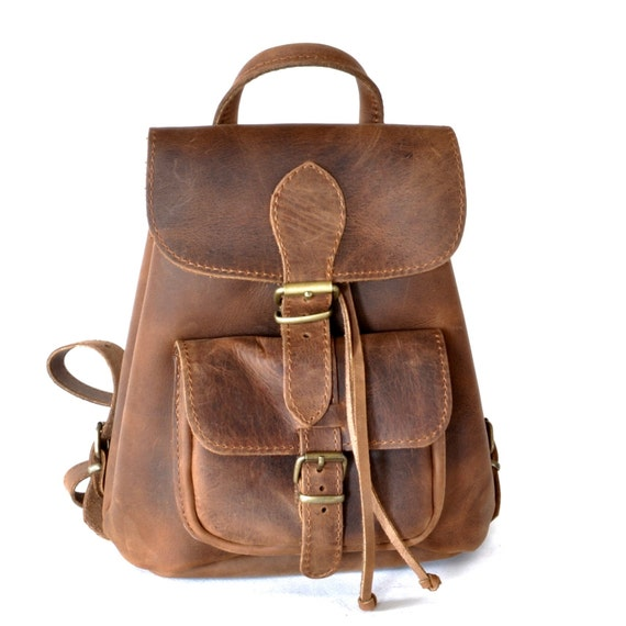 630beda195 Small leather backpack   Women chestnut brown leather backpack