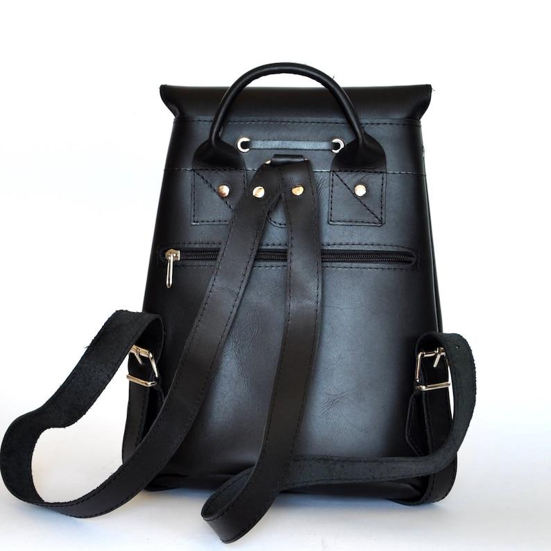 Medium size leather backpack  Women-Men black leather backpack