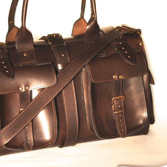 7c6397774406 Small leather duffle bag   Travel bag   Weekender   Sac voyage