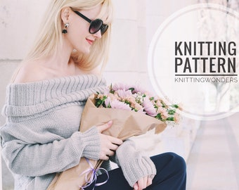 KNITTING PATTERN ⨯ Sweater, Off The Shoulder Turtleneck ⨯ Easy Knit Pattern, Sweater Knit Pattern ⨯ Fashion Knit Cold Shoulder Jumper PDF