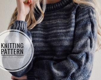 9d766131725cc KNITTING PATTERN ⨯ Cable Knit Sweater Pattern