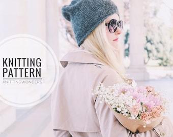 KNITTING PATTERN ⨯ Slouchy Hat Winter Beanie ⨯ Easy Knit Pattern, Beginner Knitting Pattern ⨯ Fall Fashion Winter Beanie Knit Hat Pattern