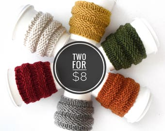2 for 8 Coffee Cozy Sale ⨯ Tea Cosy Starbucks Fall Accessory Autumn Style ⨯ Coffee Cozy Knit Cup Sleeve ⨯ Knit Coffee Cosie Sleeve Tea Cup
