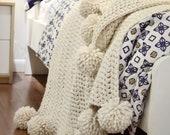 CROCHET PATTERN Chunky Blanket Crochet Pattern, Pom Pom Blanket Crochet Pattern Hygge Throw Blanket Crochet Pattern