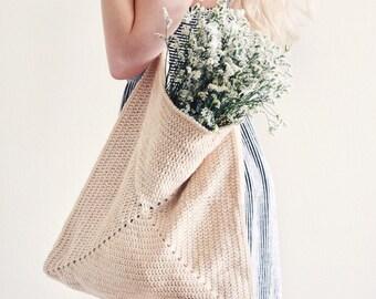 CROCHET PATTERN ⨯ Tote Bag Crochet Pattern, Summer Purse Crochet Pattern ⨯ Market Bag Crochet Pattern, Square Tote Crochet Pattern PDF