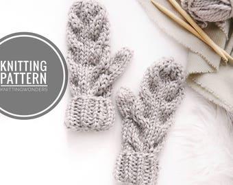 KNITTING PATTERN ⨯ Cable Knit Mittens Pattern ⨯ Womens Knit Mitts Gloves ⨯ Fold Over Cuff Mittens PDF Fall Fashion ⨯ Knitting Pattern