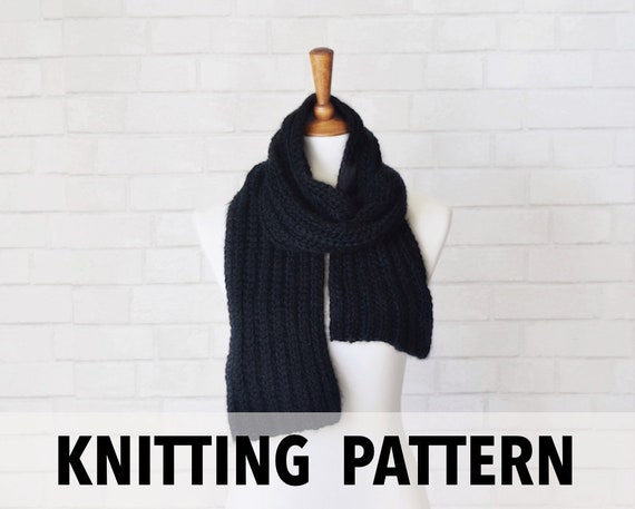 Knitting Pattern Ribbed Knit Scarf Pattern Easy Knitting Pattern