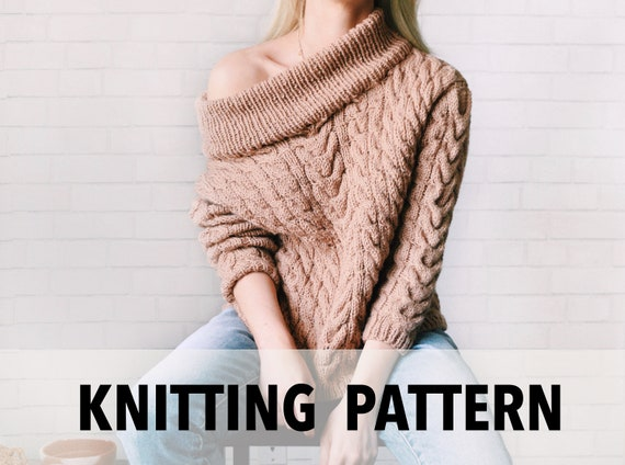 Knitting Pattern Cable Knit Sweater Pattern Chunky Pullover Etsy