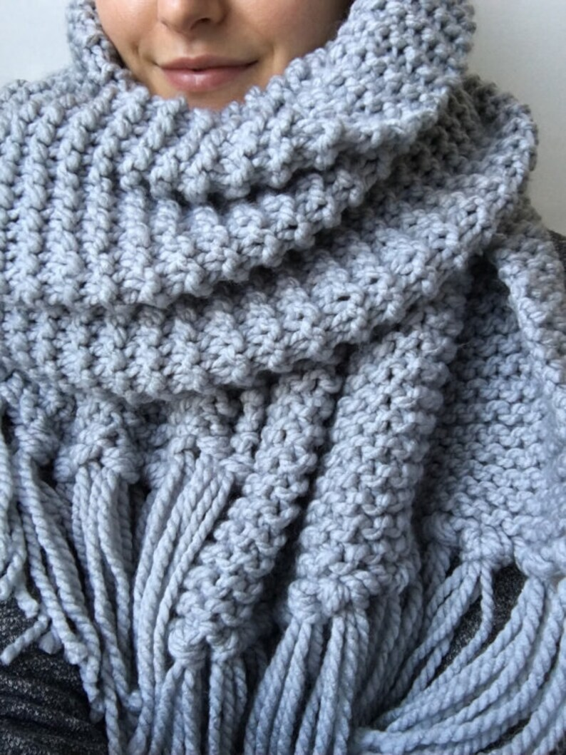 Knitting Pattern Blanket Scarf Shawl Chunky Scarf With Etsy