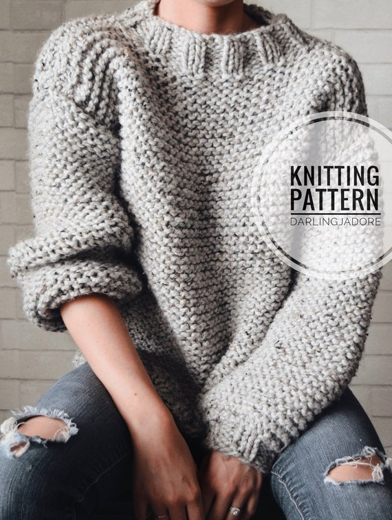 78cc9f7a5bad1 KNITTING PATTERN Chunky Knit Sweater Cozy Jumper Easy