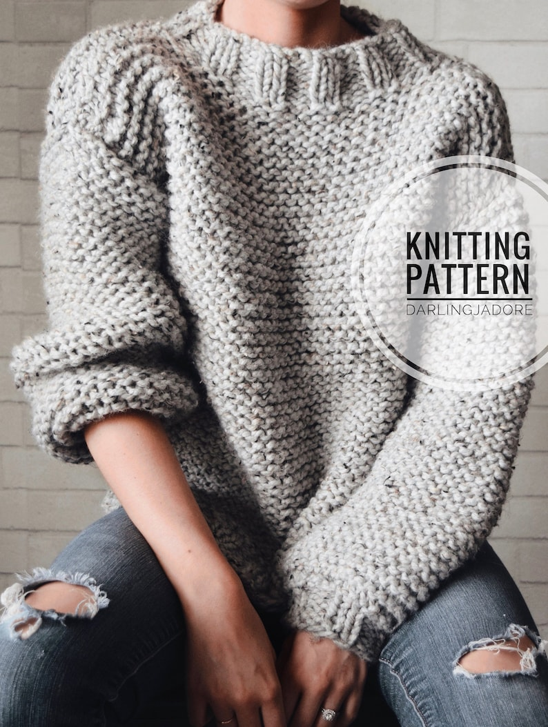 3eee41d8f KNITTING PATTERN Chunky Knit Sweater Cozy Jumper Easy