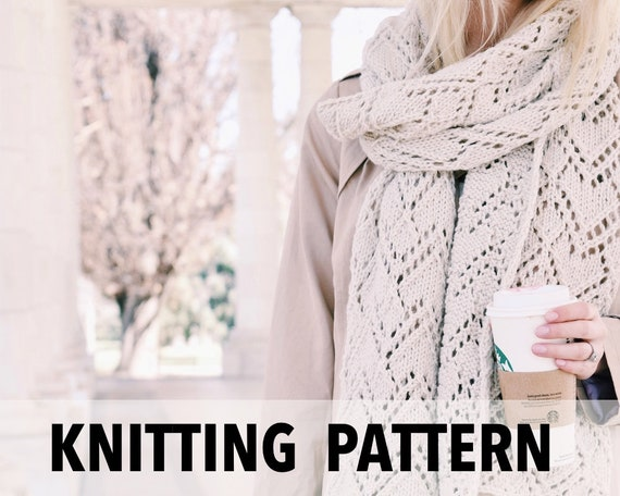 Knitting Pattern Lacy Knit Scarf Long Blanket Scarf Easy Etsy