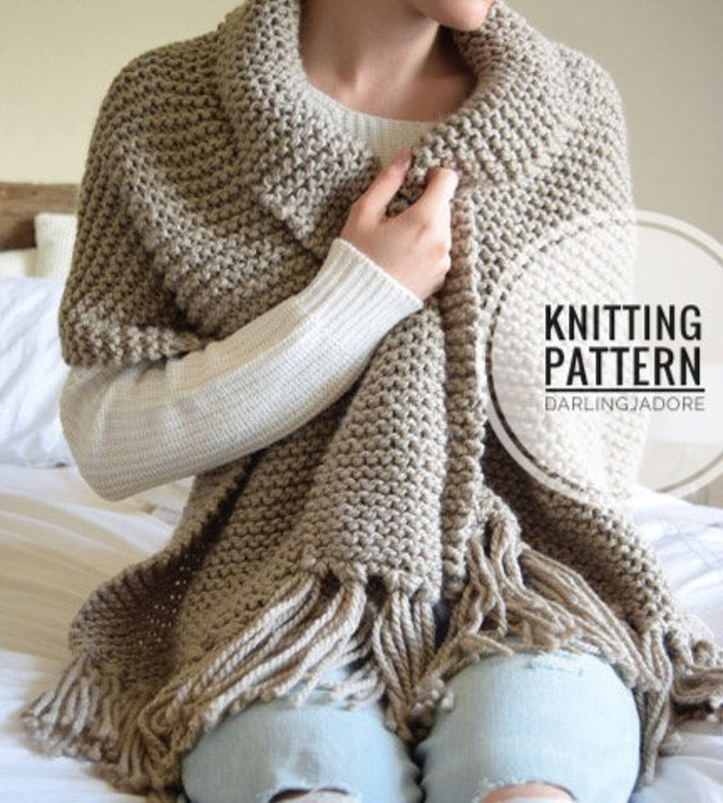 aa8e4428d0dc12 KNITTING PATTERN Blanket Scarf Shawl Chunky Scarf With