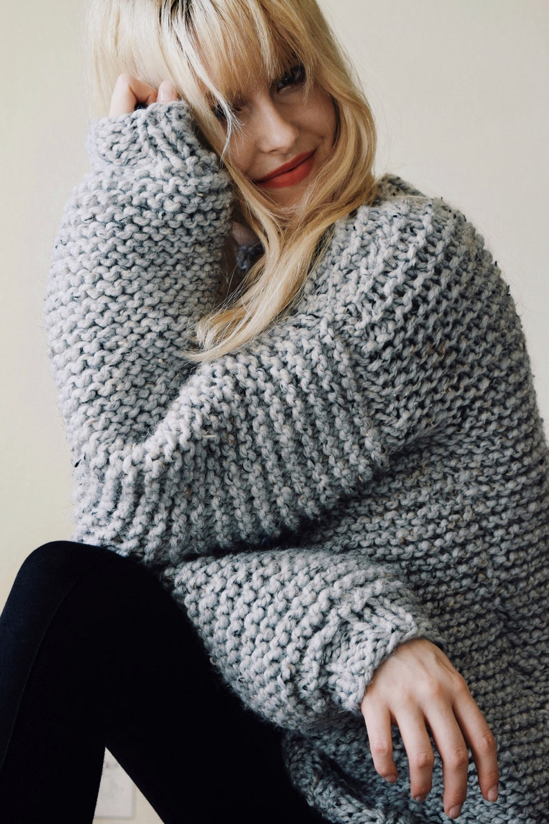 Knitting Pattern Chunky Knit Sweater Cozy Jumper Easy Etsy