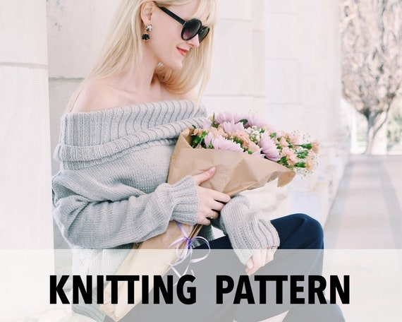 Knitting Pattern Sweater Off The Shoulder Turtleneck Easy Etsy