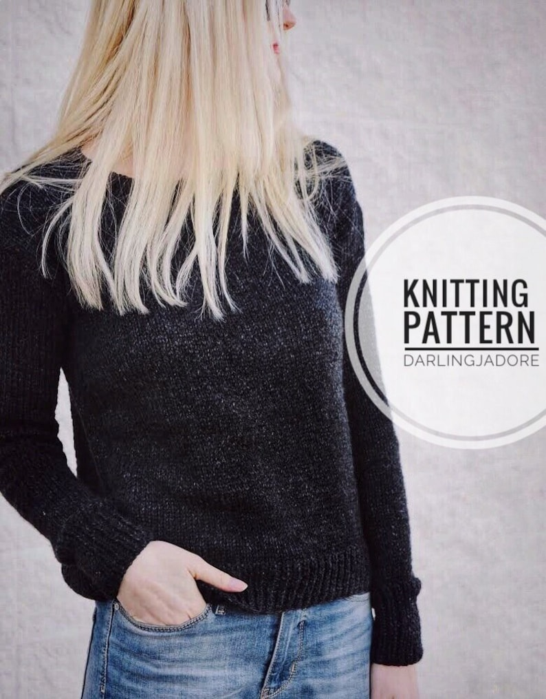 Knitting Pattern Easy Pullover Sweater Jumper Easy Knit Etsy