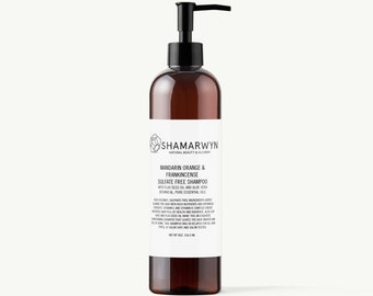 Sulfate Free Shampoo - Mandarin Orange & Frankincense -  Natural-Organic - With Flax Seed Oil and Aloe Vera - Conditioning - Color Safe, 8oz