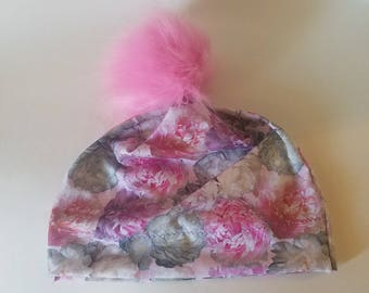 Adult Pink Peony Slouchy Beanie with Pink Fur Poof