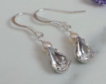 f4665749993bbf Angel Crystal Diamante Drop Earrings, Crystal Bridal Earrings, Bridesmaid  Thank You Gift, Handmade Jewellery
