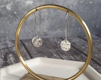 Hammered Disc Silver Drop Earrings - Handmade Circle Earrings - Hammered Silver - Made in UK - Silver Dangle Earrings