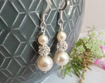 5bb1102d214256 Ella Pearl Earrings Ivory Pearls Drop Earings Bridal Jewelry Wedding  Bridesmaid Gift Crystal Rhinestone Dangle Valentines Etsy UK Handmade