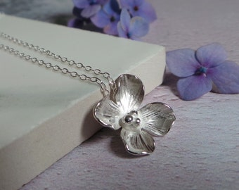 Silver Hydrangea Floral Necklace - Handmade Sterling Silver Hydrangea Flower Pendant - 4th Anniversary Gift - Bridesmaid Thank you Gift