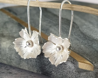 Silver Flower Drop Earrings - Hammered Sterling Silver Floral Dangle Earrings