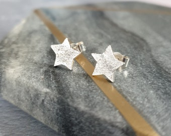 Silver Star Stud Earrings - Textured Sterling Silver Star Shaped Studs