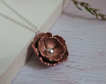 Copper Rose Necklace - Sterling Silver And Copper Flower Necklace - Autumnal Floral Pendant - Autumn Copper Necklace - Handmade Etsy UK