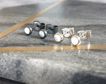 Black or Silver Tiny Silver Studs - Handmade Recycled Sterling Silver Stud Earrings - Minimalist Earrings for Pierced Ears - Stack or Layer