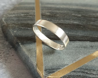 Sterling Silver Brushed Band Ring - Wide Matt Silver Plain Ring - Unisex Silver Thumb Ring
