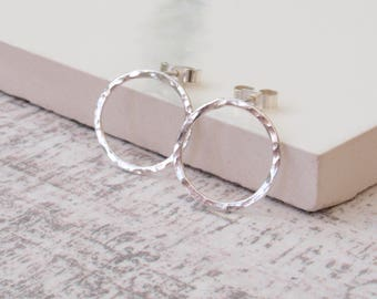 Hammered Circle Stud Earrings - Sterling Silver Hammered Organic Texture Round Circle Earrings - Handmade Silver Jewellery